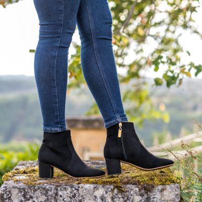 MINUIT-SUR-TERRE-Tilleul-Black-Faux-Suede-Low-Boots-Style